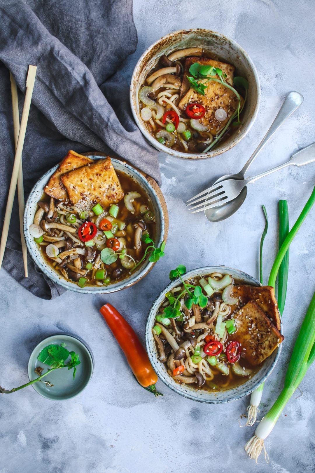 miso soup ramen vegan crispy tofu
