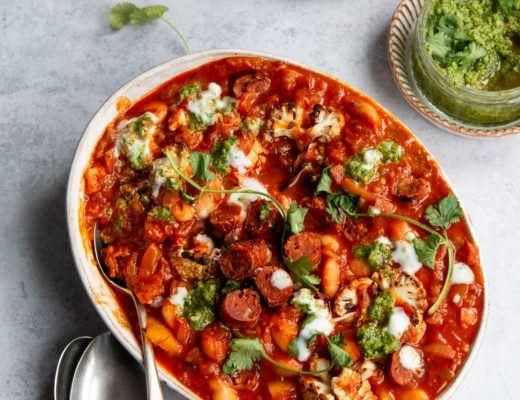 Chorizo & cauliflower hotpot