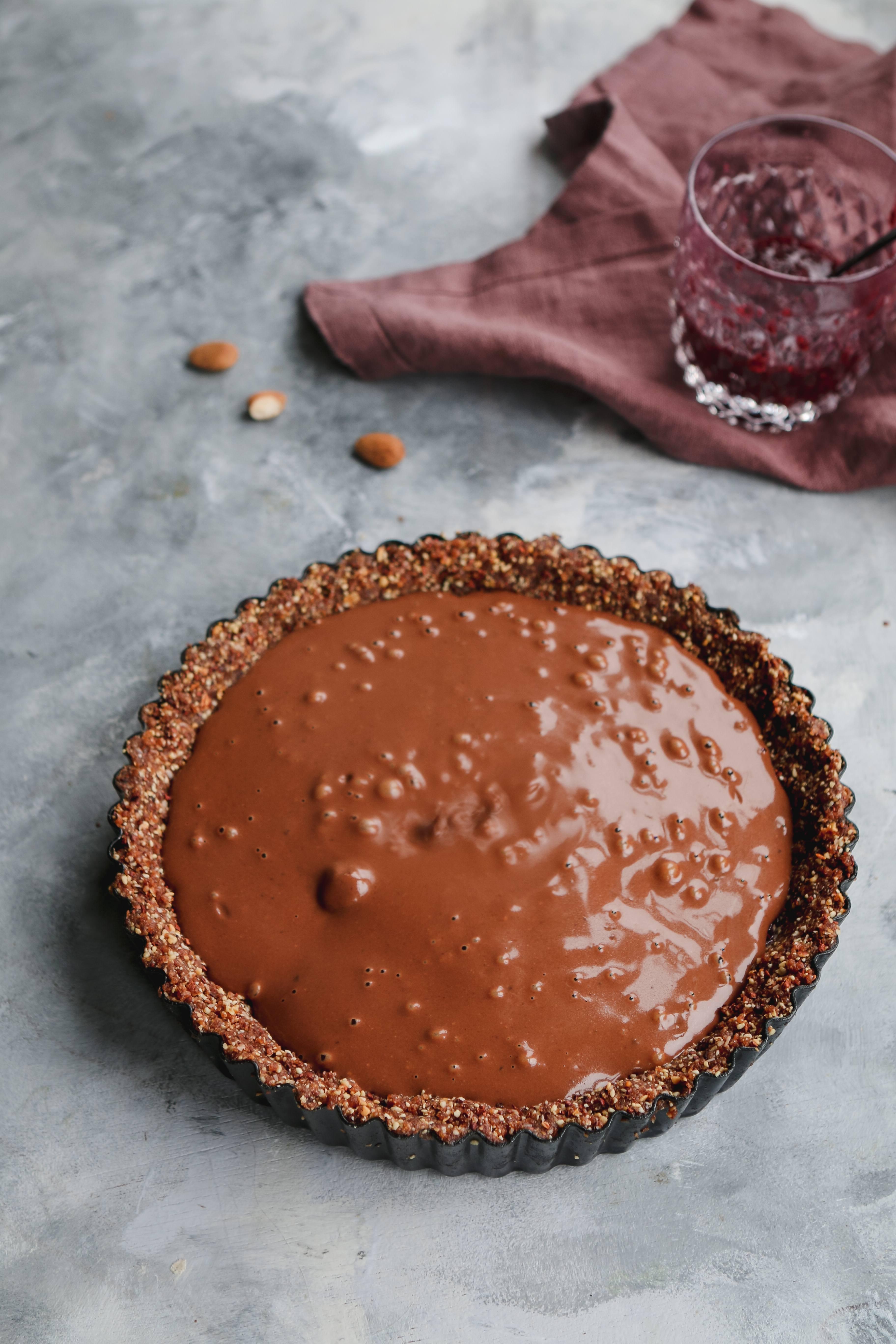 vegan gluten free raspberry chocolate tart
