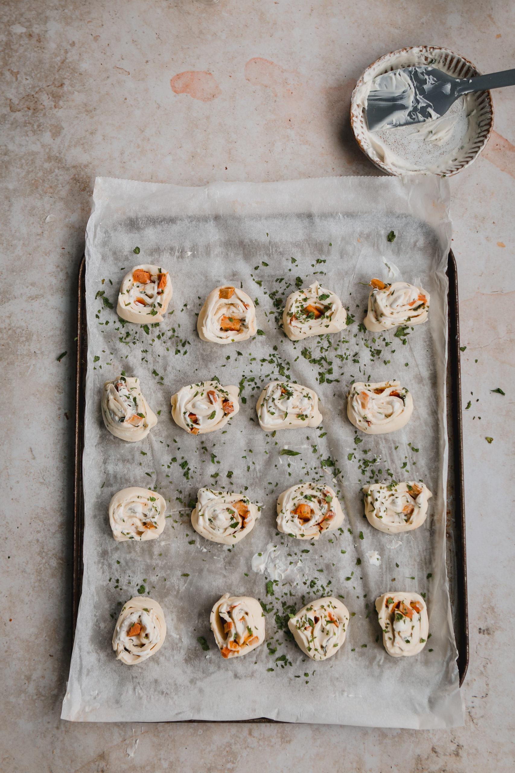 vegan pancetta pinwheels with nush cream cheese