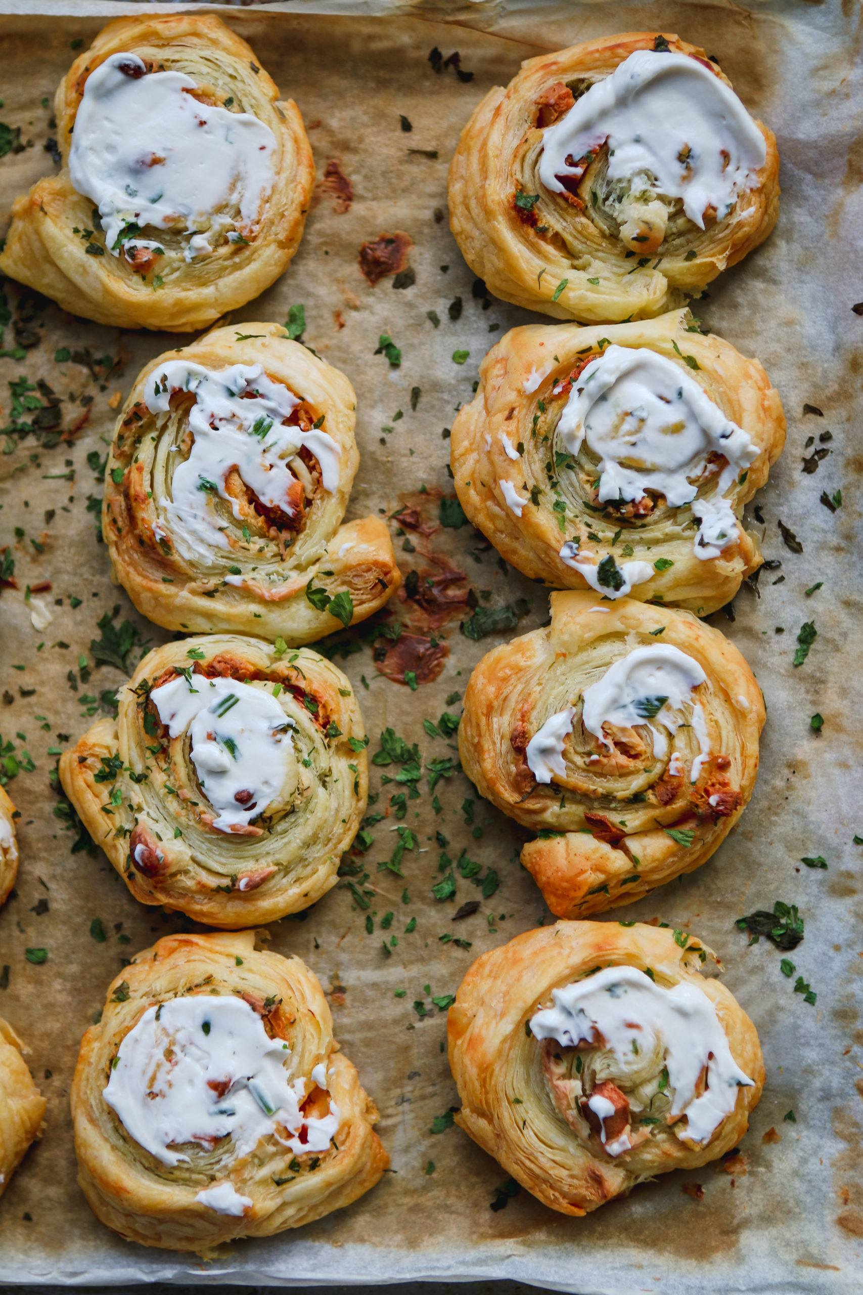 vegan pancetta pinwheels with nush cream cheese