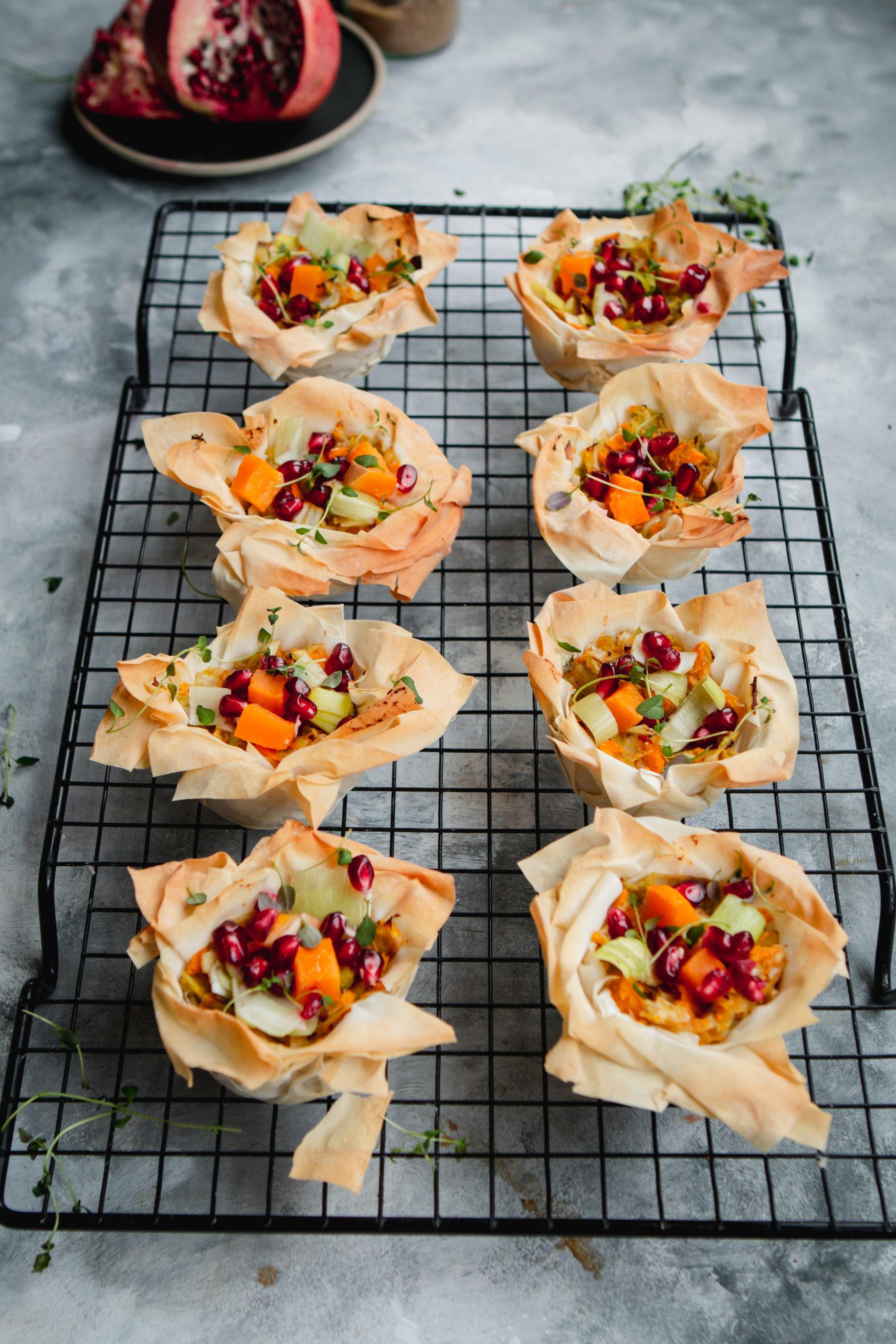 leek and butternut filo tarts vegan