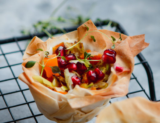 leek and squash filo tarts