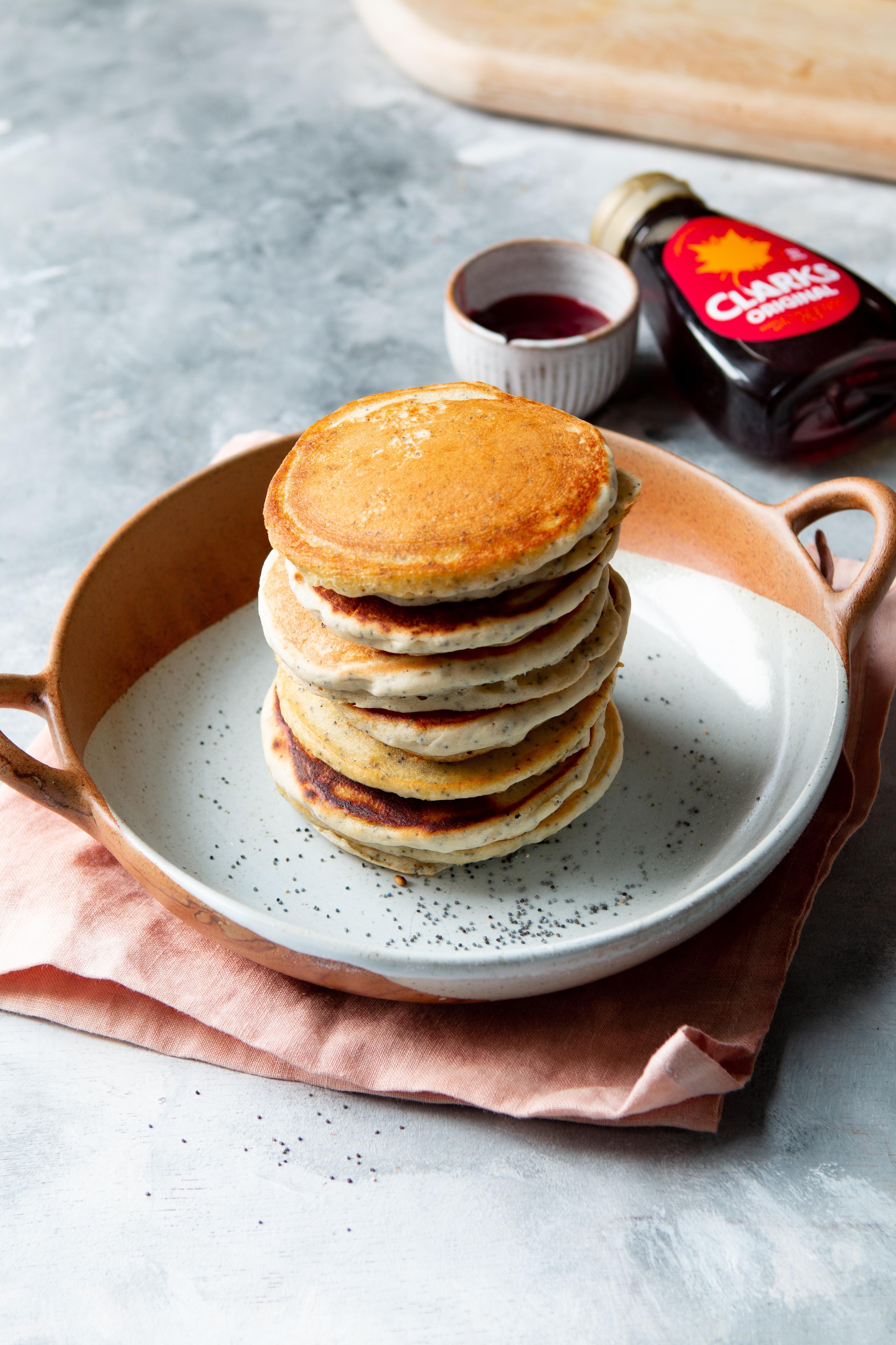lemon and poppy seed vegan pancakes