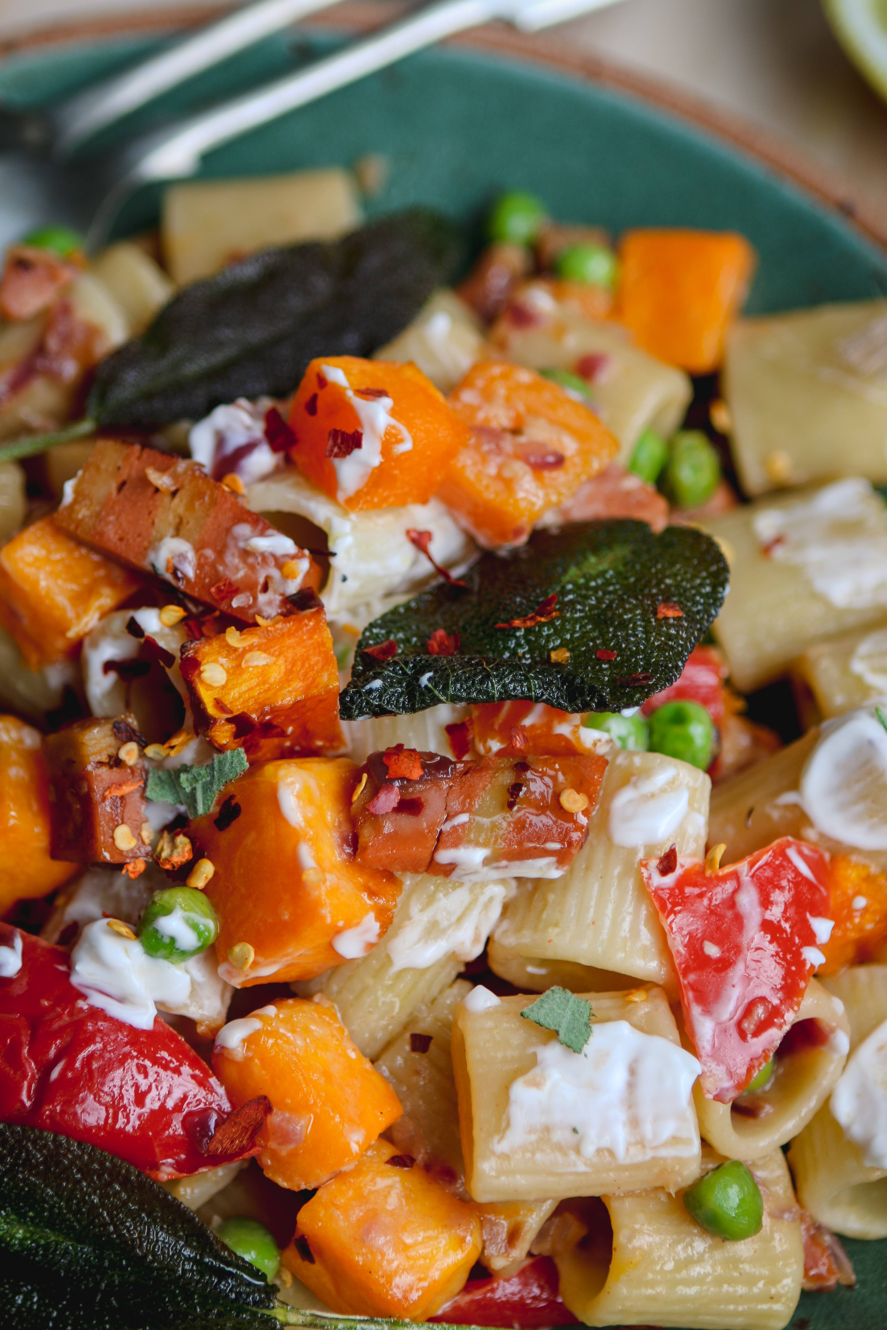 Pancetta butternut sage pasta vegan