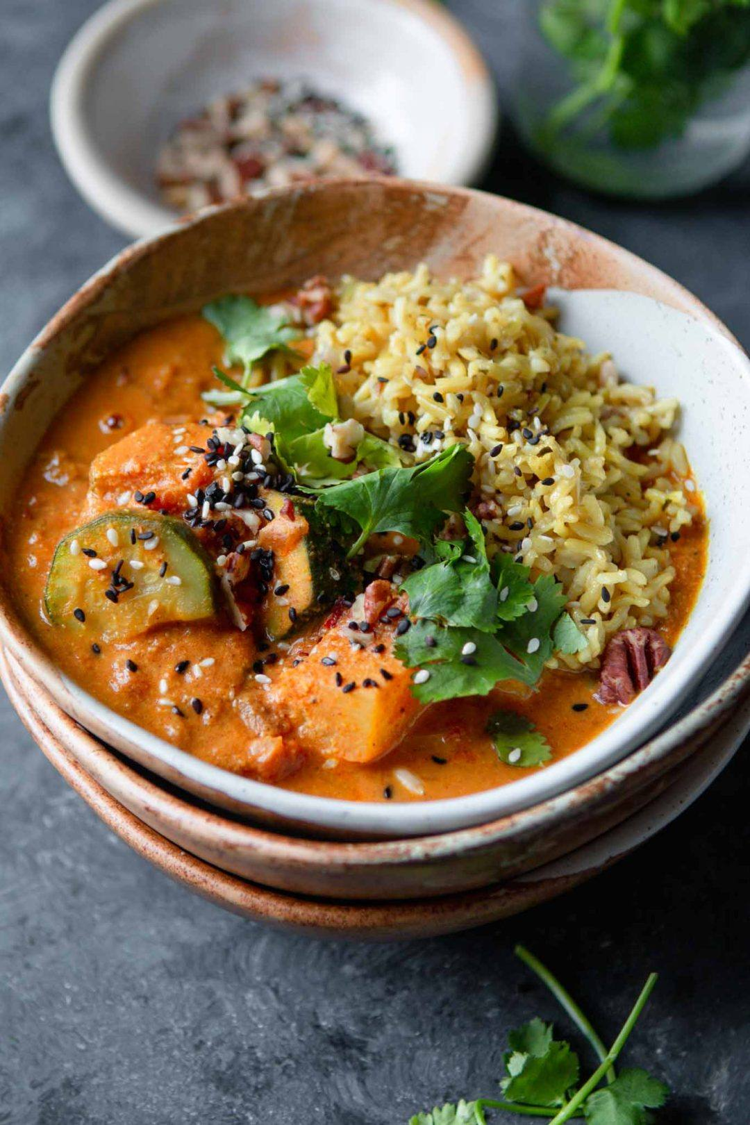 potato and courgette vegan curry recipe