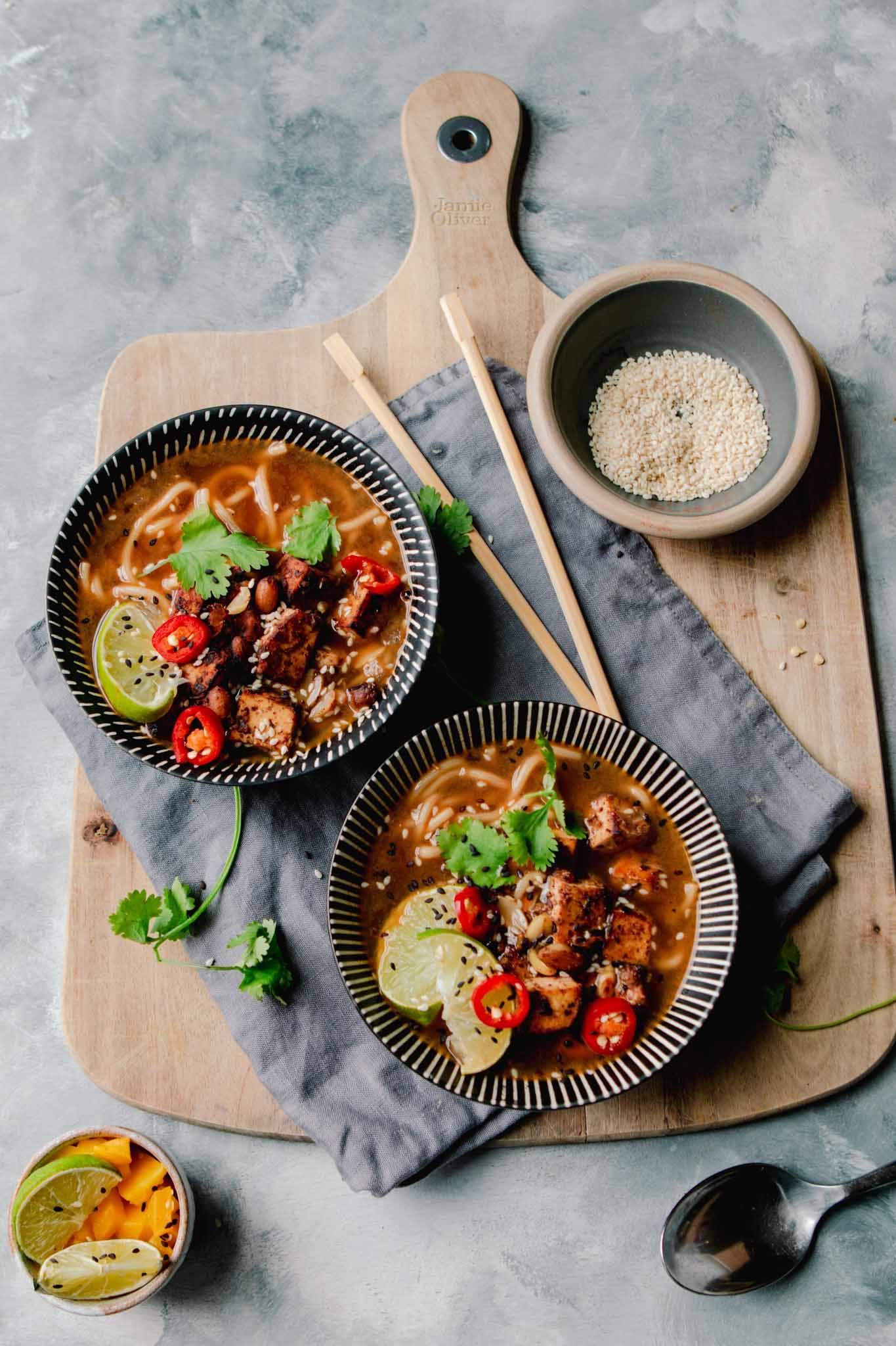 chilli peanut tofu ramen vegan