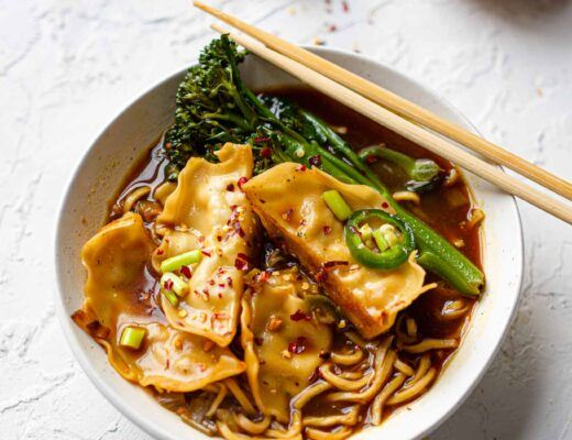 gyoza noodle chilli soup recipe vegan