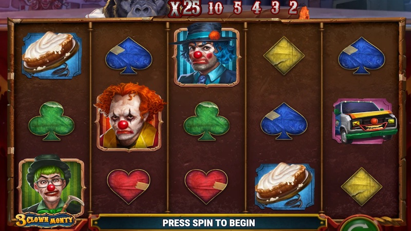 3 clown monty slot gameplay