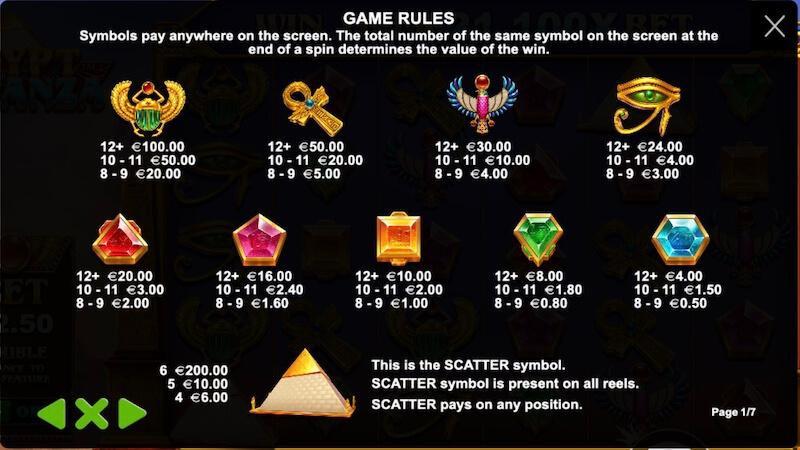 egypt bonanza slot rules