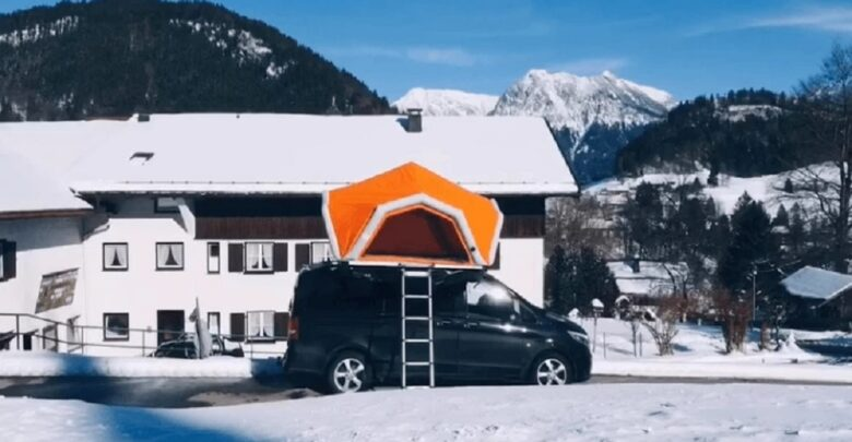 Explosively Vibrant Inflatable Roof Tent Makes Small Car A Mini Camper International Journal