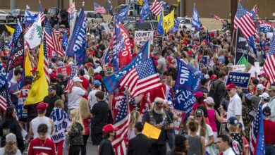 Trump Supporters gather outside counting building as Biden leads in Arizona