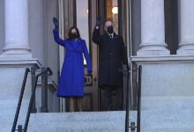 #Kamala_Harris enters the #White_House_grounds for first time as #vice_president
