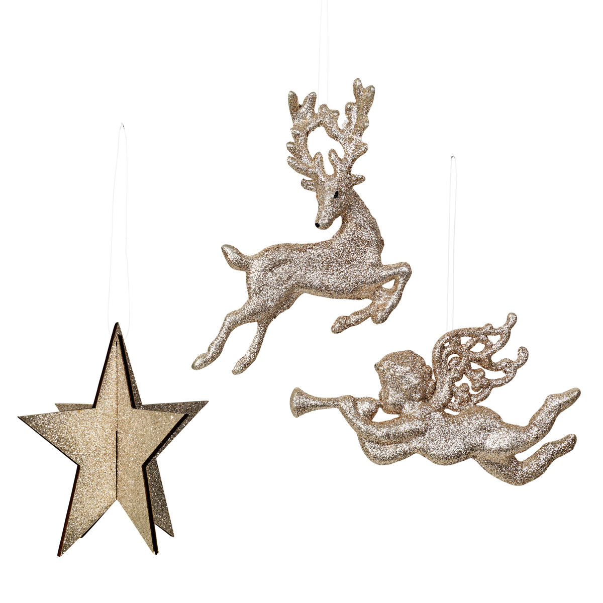 Broste gold star angel & reindeer ornament 42768039