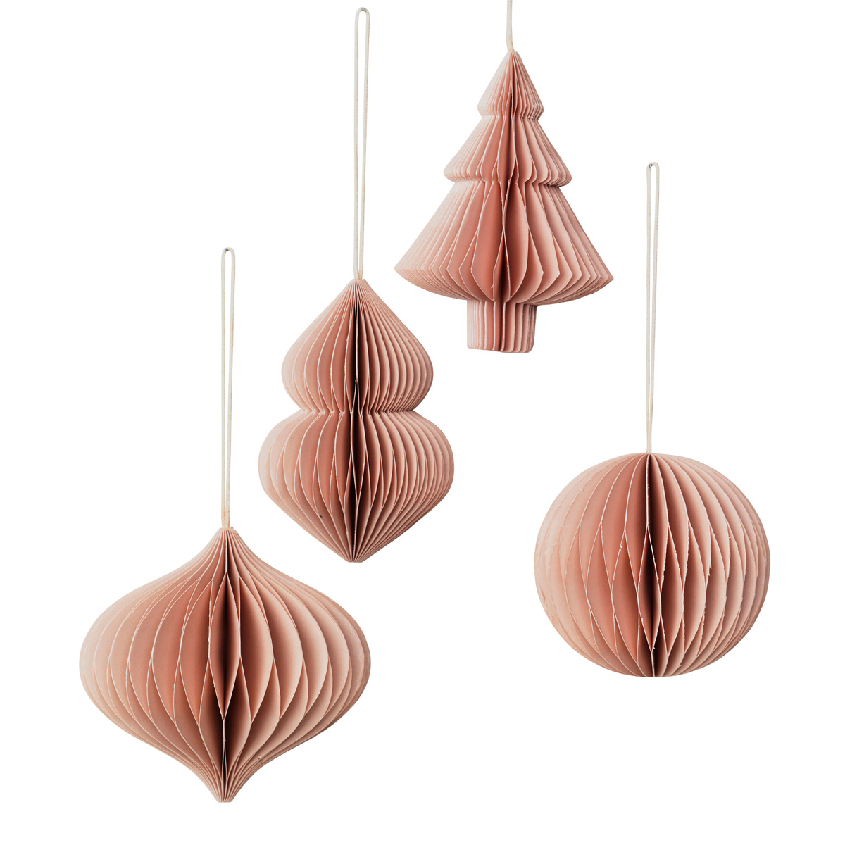Broste pink paper Christmas tree ornaments 70080156