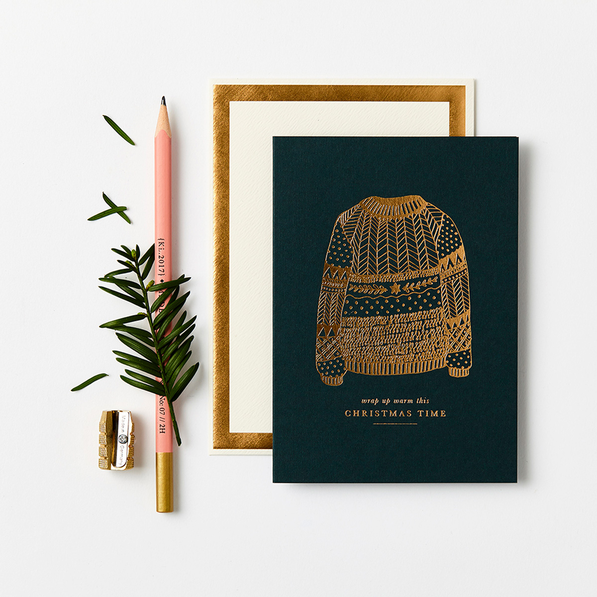 Katie Leamon Gold & Green Christmas jumper card