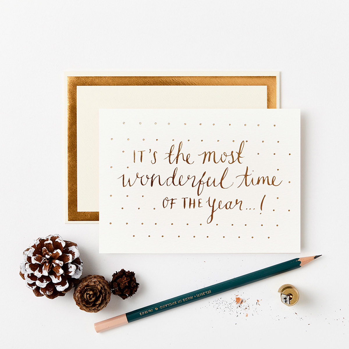 Katie Leamon Wonderful time gold & white Christmas Card