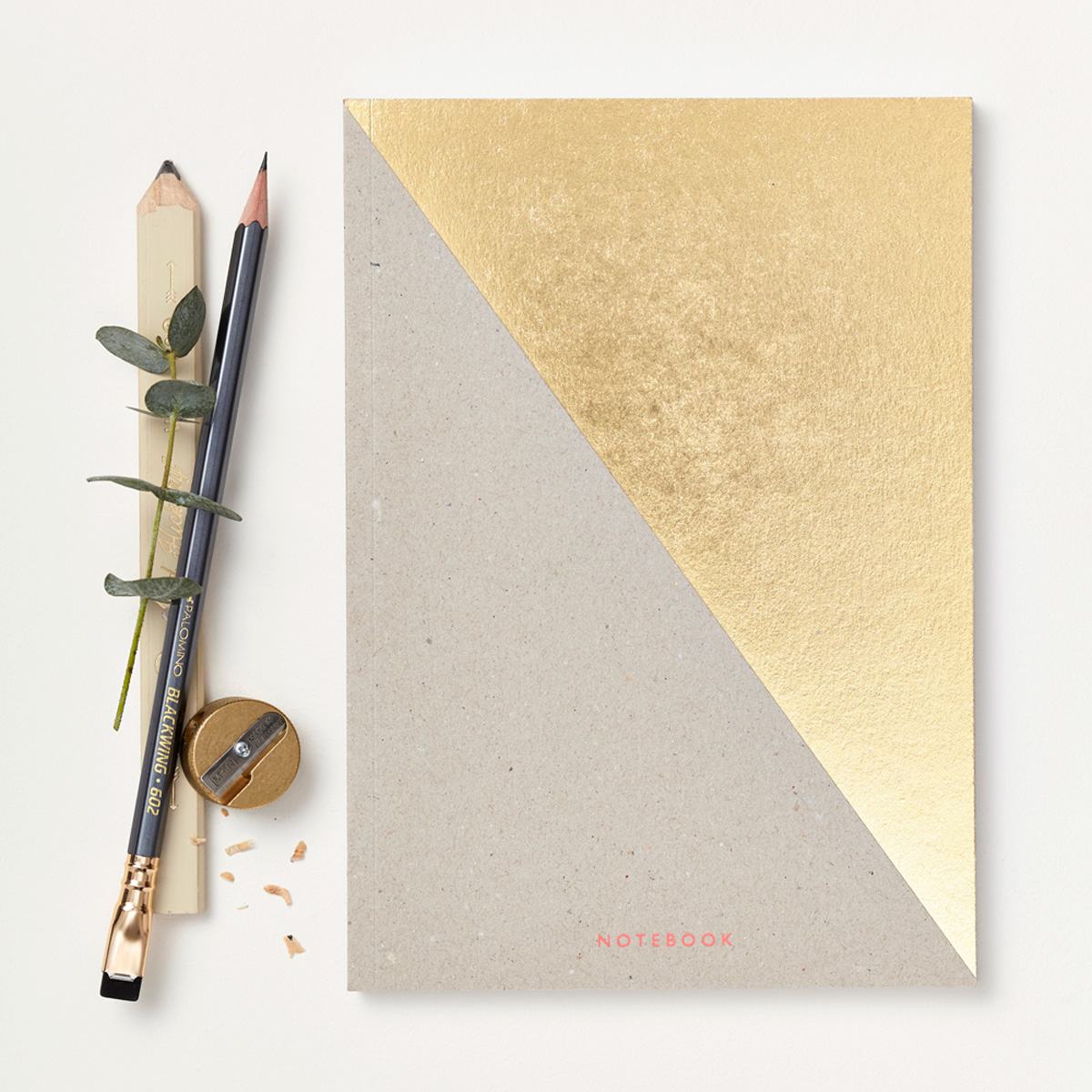 Katie Leamon diagonal gold notebook