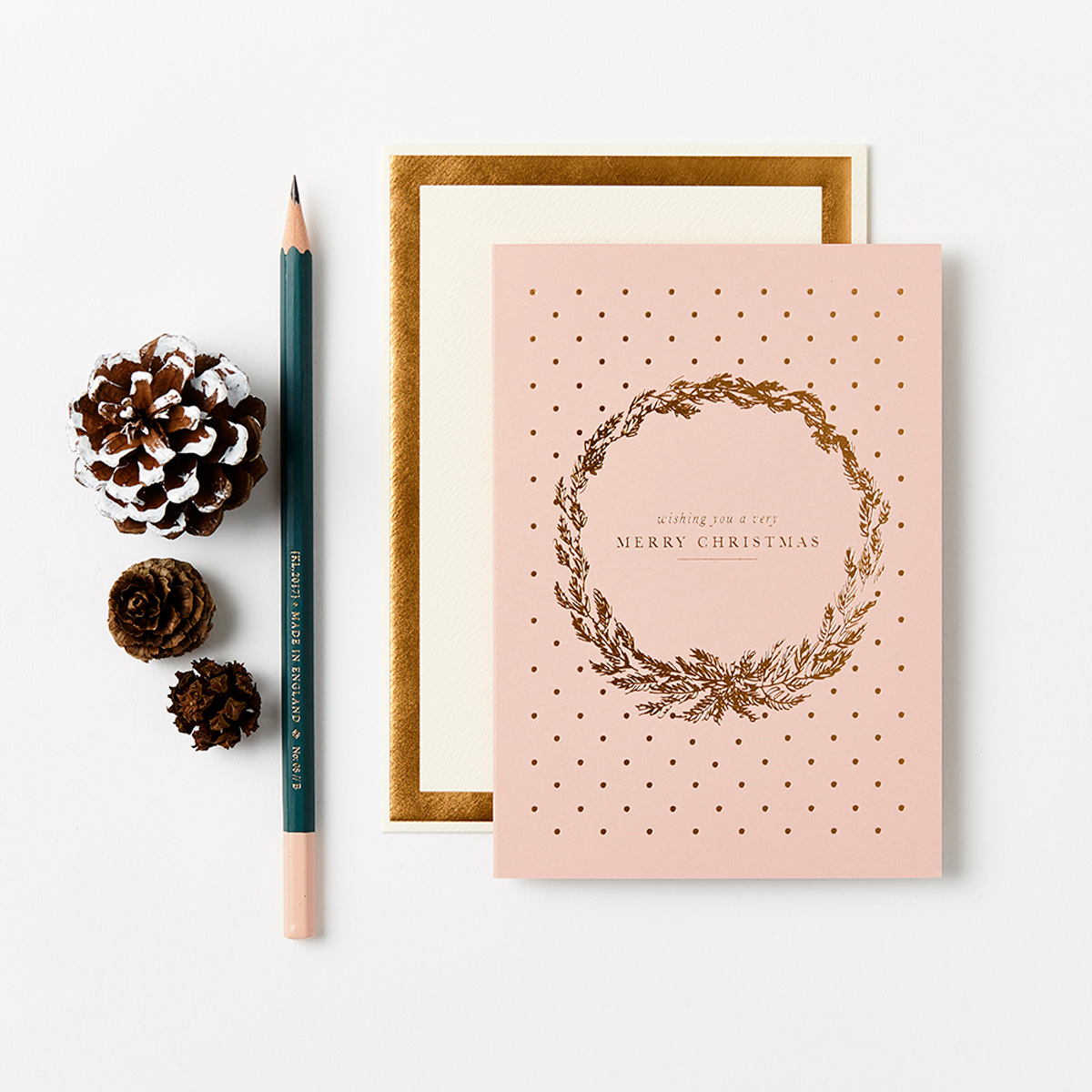 Katie Leamon gold Christmas card with wreath