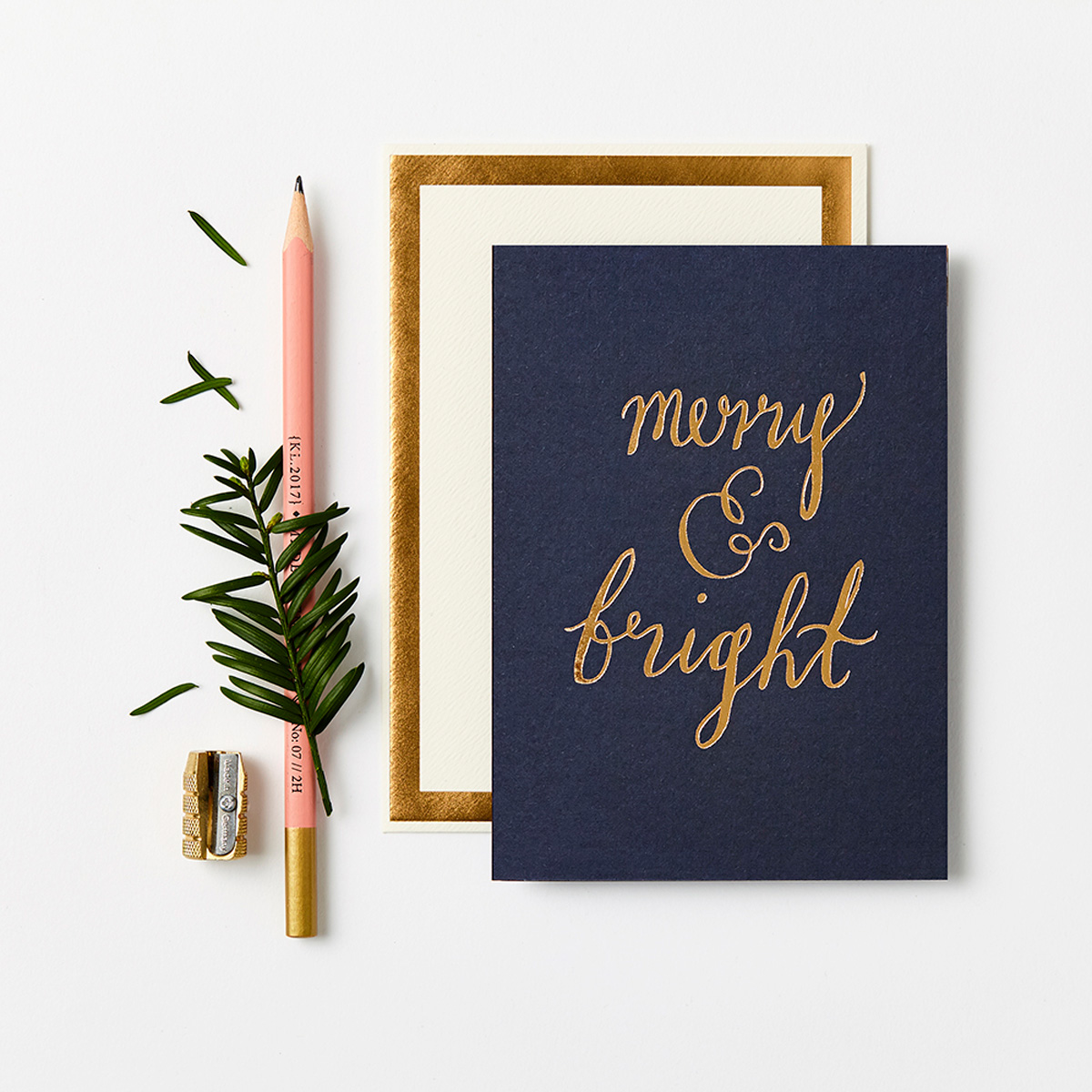 Katie Leamon gold & blue merry & bright christmas card