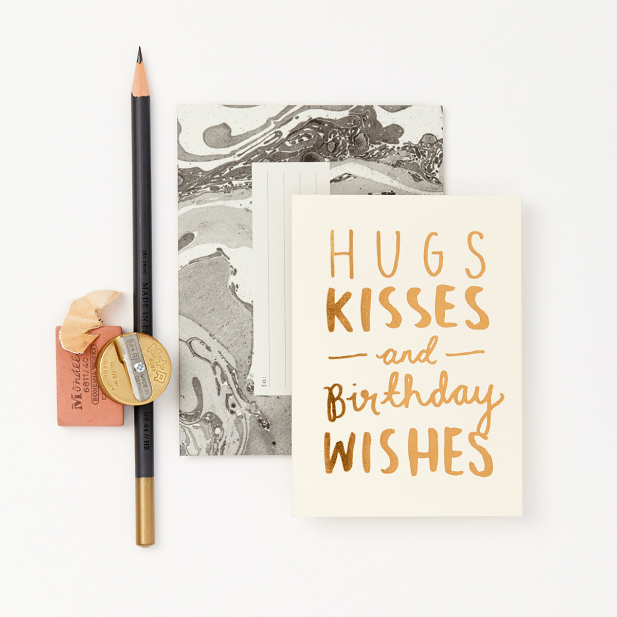 Katie Leamon gold & white hugs & kisses birthday card