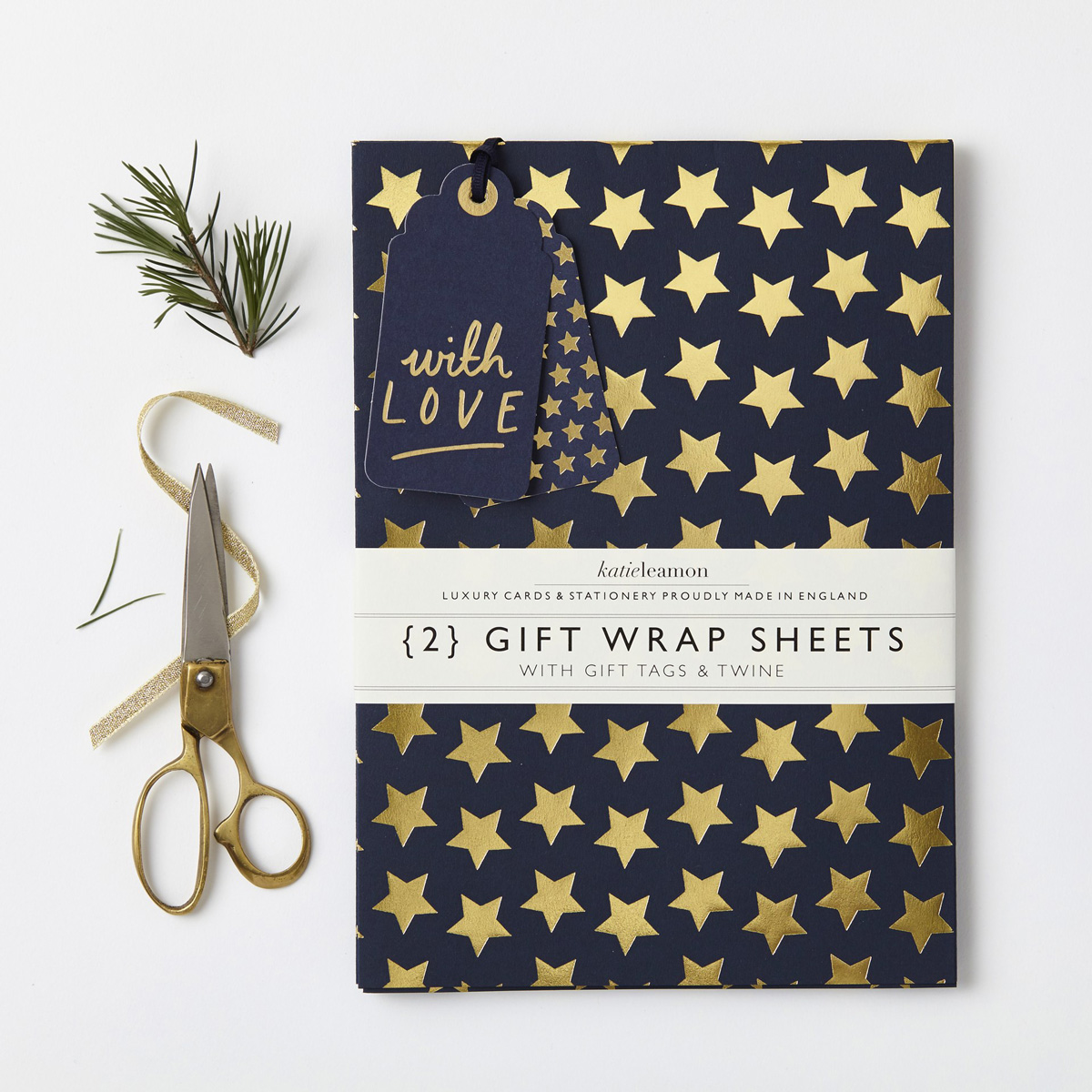 Katie Leamon luxury blue & gold star gift wrap sheets