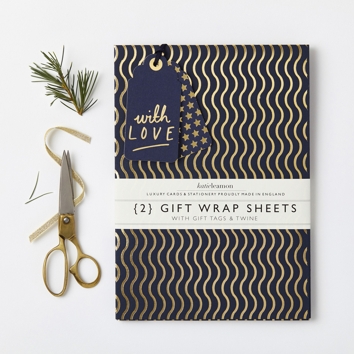 Katie Leamon luxury blue & gold waves gift wrap sheets