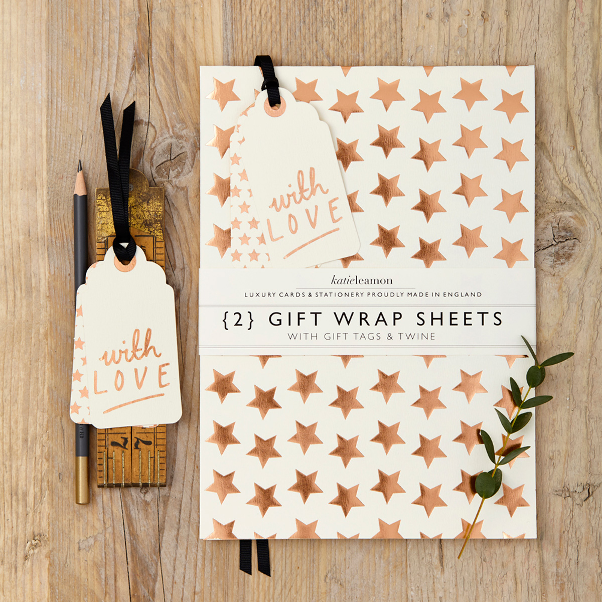 Katie Leamon luxury gold star gift wrap sheets