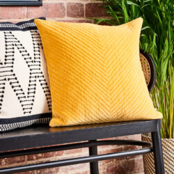 YELLOW-velvet-Cushion-Monochrome-textured-cushion-HK-LIVING