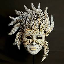 Venetian Carnival Mask - Antique White EDM02W EDGE sculpture by Matt Buckley