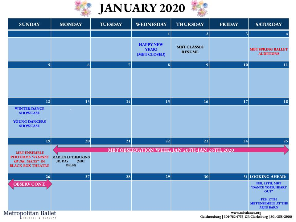 January 2020 Studio Schedule