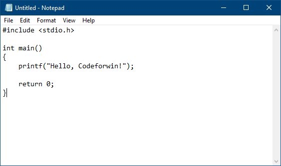 Write C program in notepad