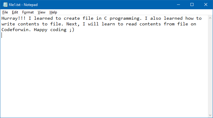 Create and write content to file in C