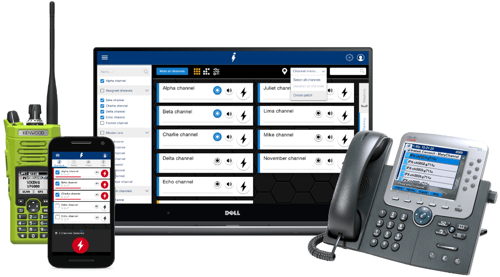 Instant Connect for Enterprise, showing mobile, desktop, radio and computer able to use Press to Talk