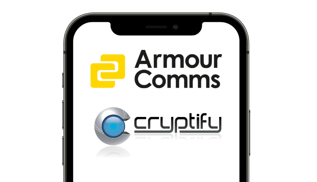 Phone showing Armour Comms and Cryptify Logos