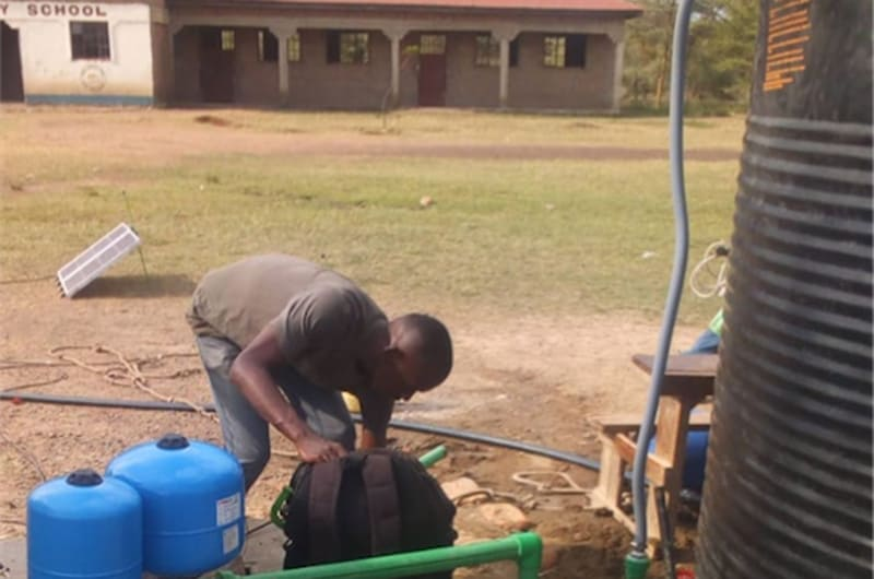 SF2-driven Impact Pump installed at GLAC primary school, Ahendu, Kenya, displacing bucket lifting and supplying pre-purified drinking water for more than 250 children and staff