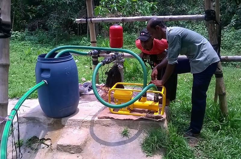 Ennos sunlight surface water pump connected to an Impact Pump water pump