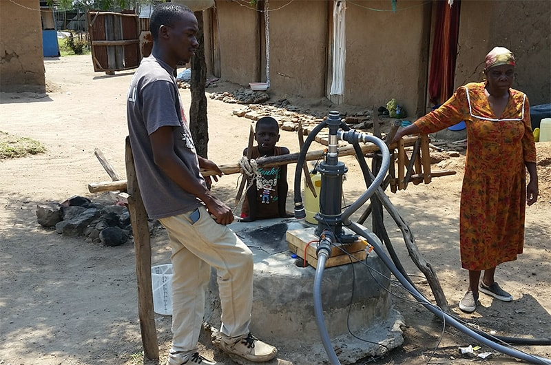 SF2-driven Impact Pump installed in 24m deep well in a community compound in Rabour, Kenya