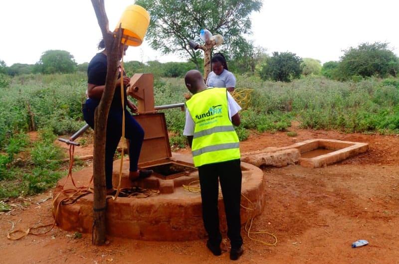A Fundifix team member at the installation in Kitui, Kenya