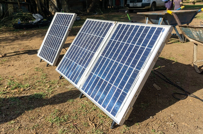Solar panels set up to power a submersible pump