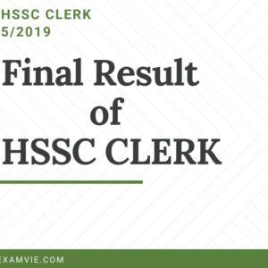 HSSC Clerk Final Result 5/2019