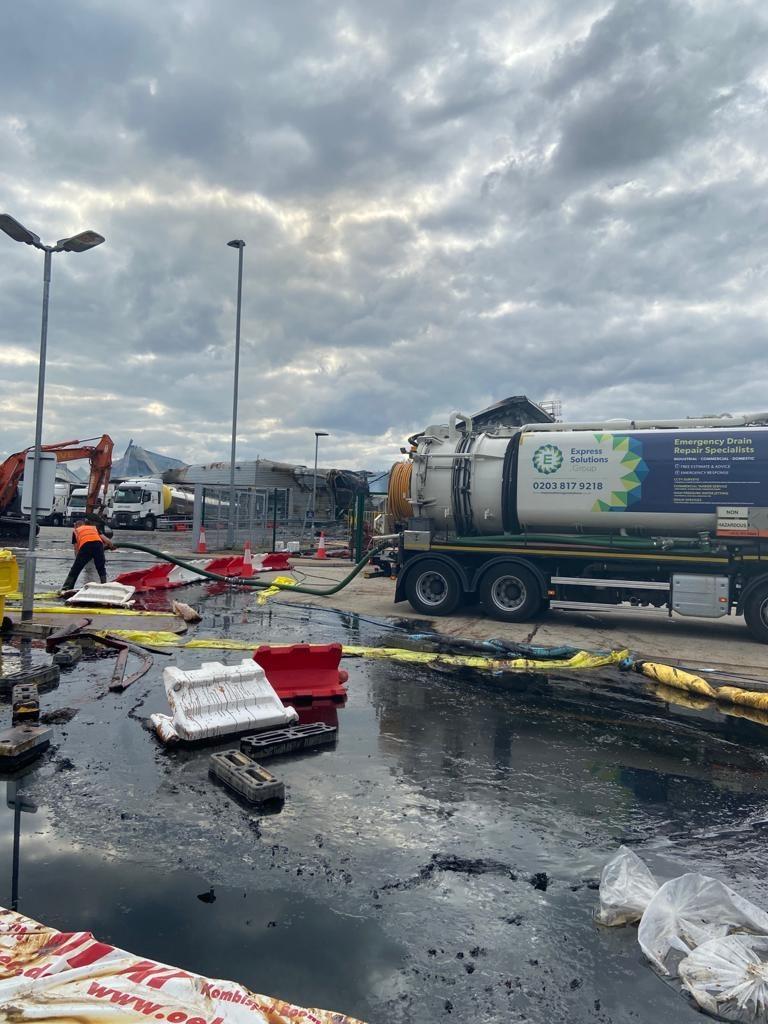 Tanker pumping flood water