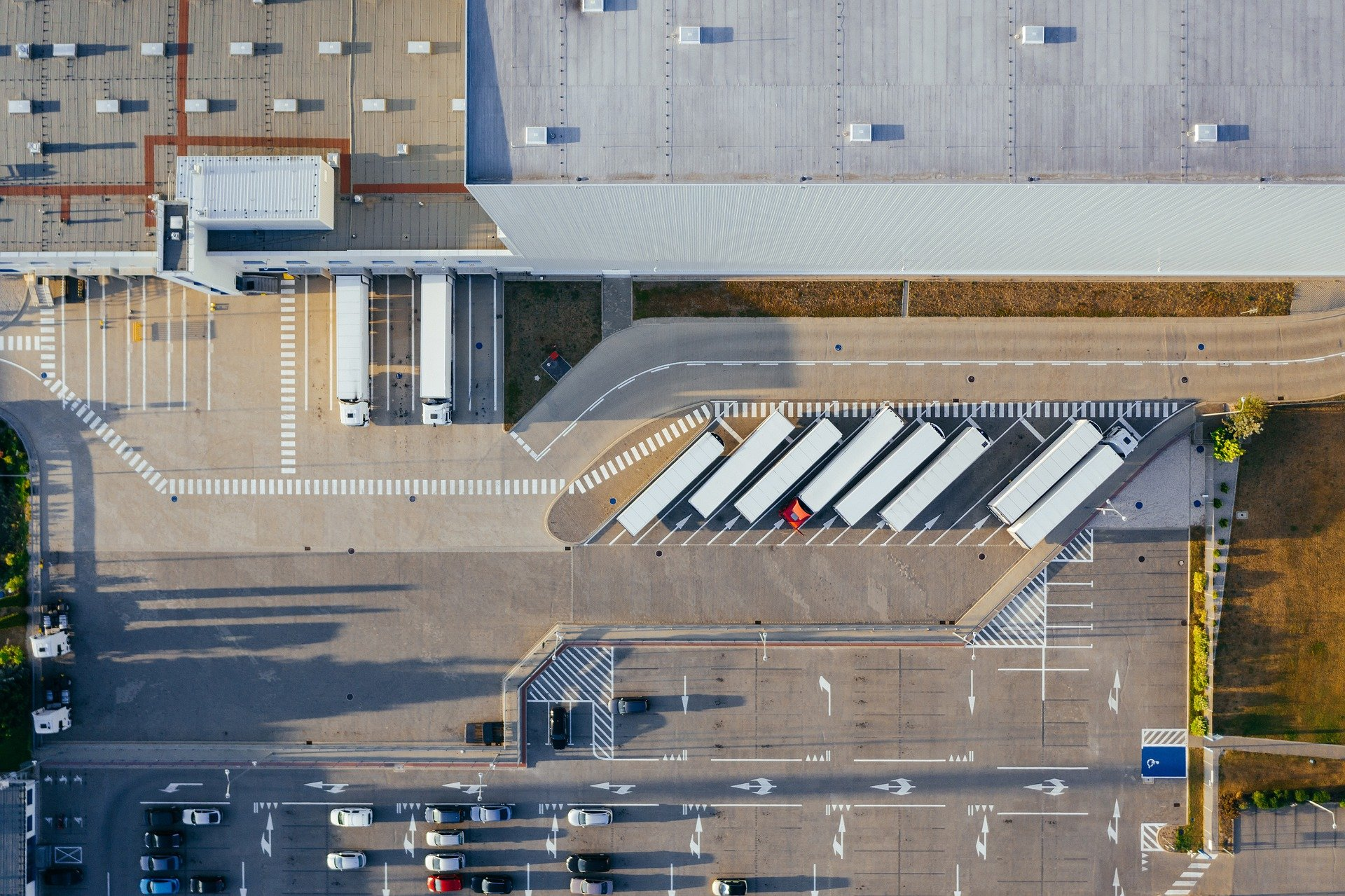 Aerial view of warehouses
