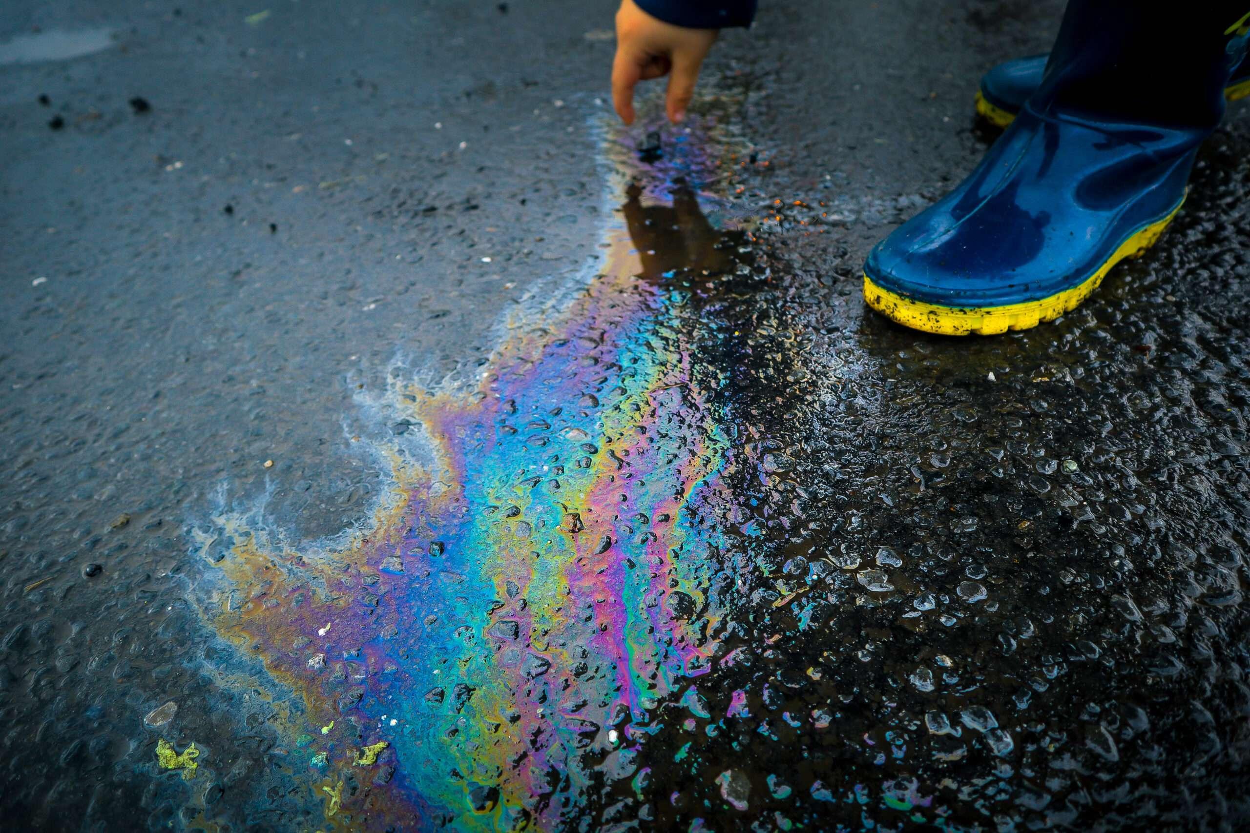 Oil on road