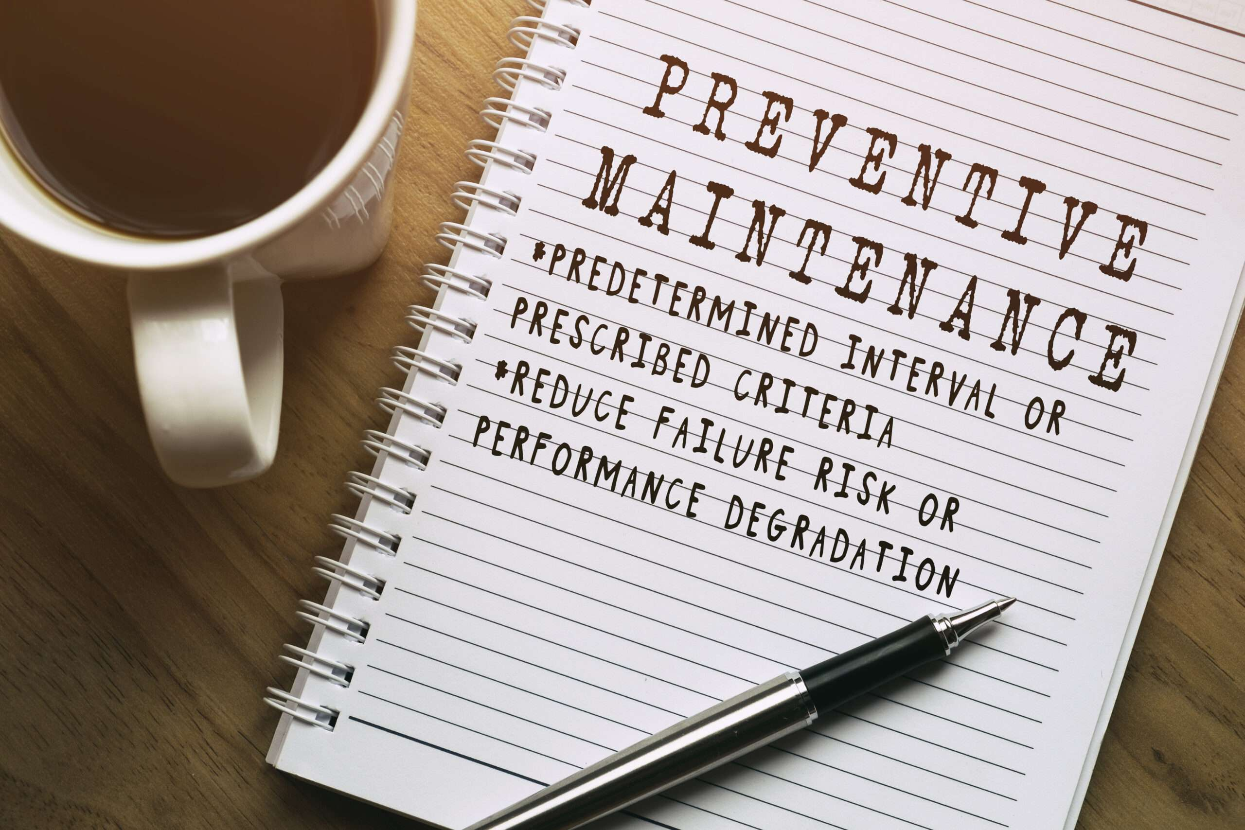 note titled 'PREVENTIVE MAINTENANCE'