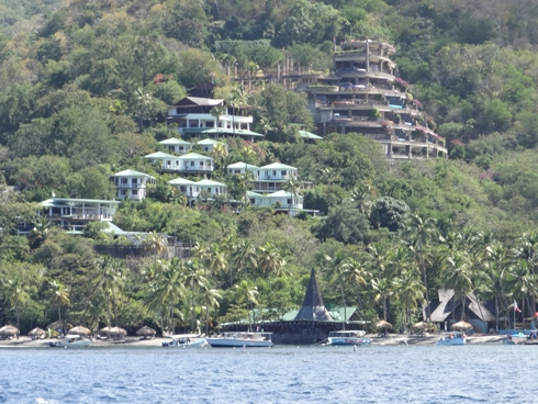 The exclusive hotel at Anse Chastanet as seen from offshore. Some of the rooms don't have windows!
