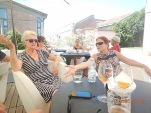 Alison and Paula enjoying a drink in the Marina bar