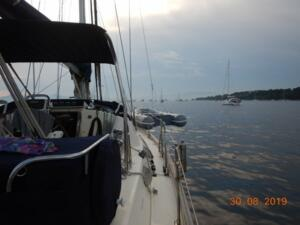 Dinghy lifted overnight for safety and security