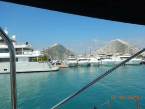 Entering the marina, The 'Pyramids' in the background
