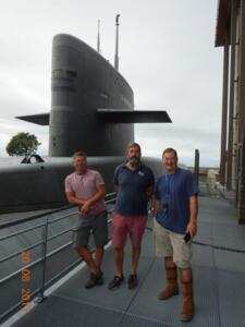 John, me and Richard at the French Nuclear Submarine 'Redoutable'. Coincidentally the name of the ship from whoich a sniper shot Lord Nelson